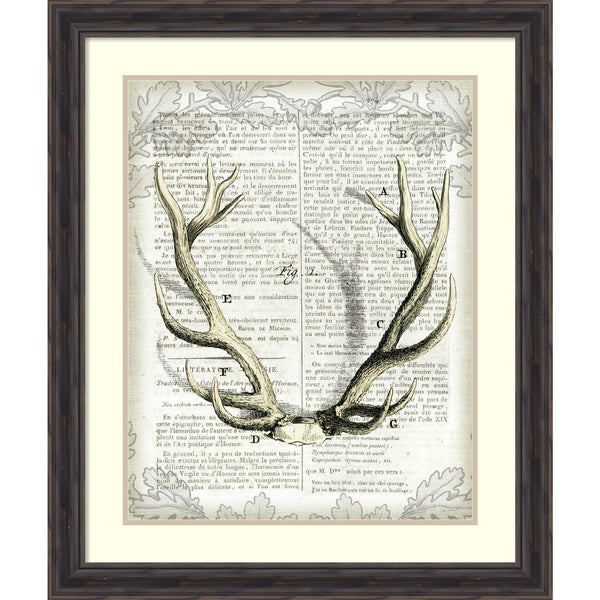 Sue Schlabach 'Regal Antlers on Newsprint I' Framed Art Print 27 x 32-inch