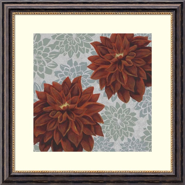 Grace Popp 'Woodblock Dahlias I' Framed Art Print 28 x 28-inch
