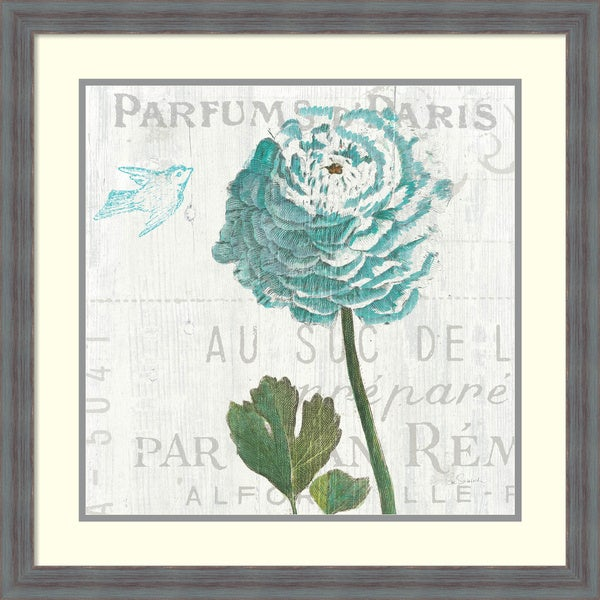 Sue Schlabach 'Floral Messages on Wood II Blue' Framed Art Print 26 x 26-inch
