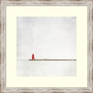 Margaret Morrissey 'Meet Me at the Red Lighthouse' Framed Art Print 25 x 25-inch