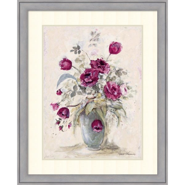 Peggy Abrams 'Crimson Roses ll' Framed Art Print 27 x 33-inch