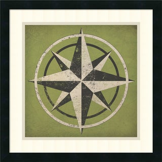 Ryan Brissonnet 'Nautical Compass' Framed Art Print 17 x 17-inch