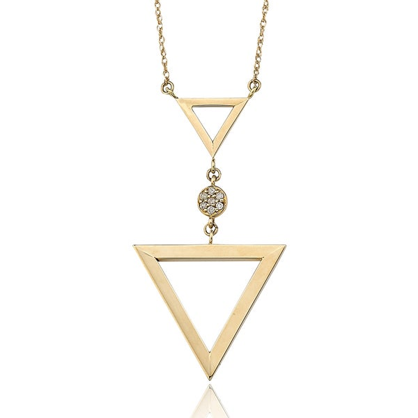 14k Yellow Gold Diamond Accent Triangle Necklace