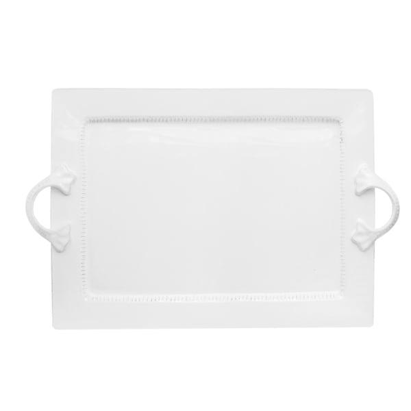 Bianca Dash White Rectangular Platter with Handles