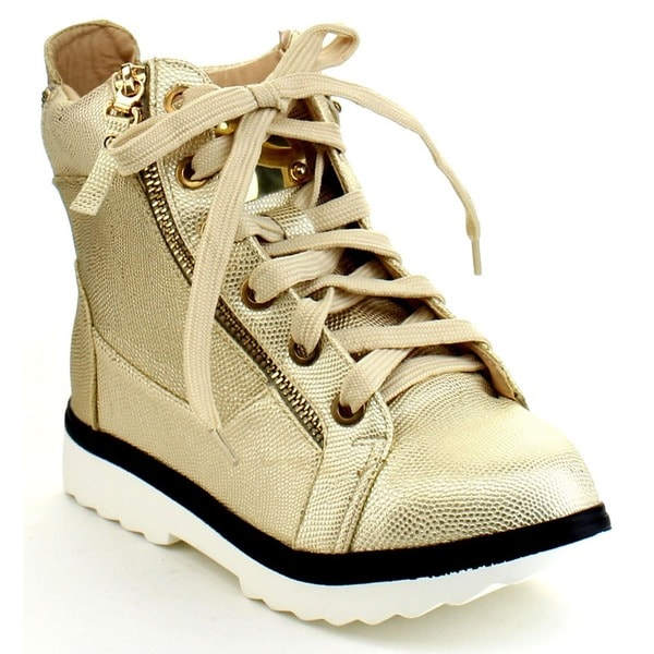 Bellamarie Deejay-10 Women's Snake Lace Up White Lug Sole High Top Sneaker