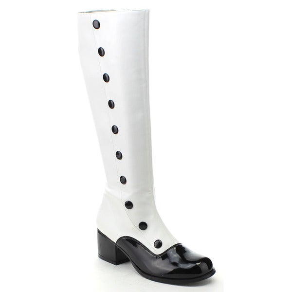 Funtasma Retro-306 Women's 2-inch Block Heel Spectator Faux Buttons Knee High Boot