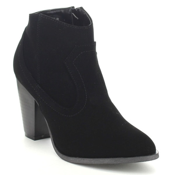 Bamboo Rebel-01 Women Stacked Heel Side Zip Western Style Classic Ankle Booties
