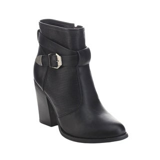 Refresh Beyond-03 Women's Laser Out Buckle Strap Side Zip Chunky Ankle Booties