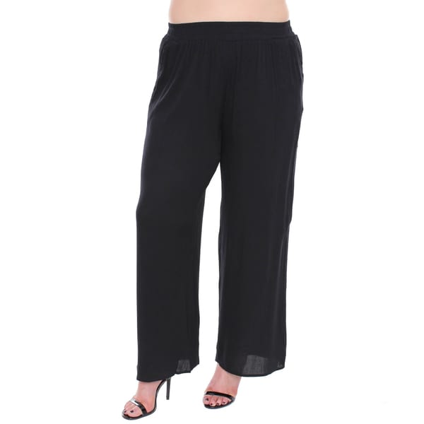 Juniors' Plus Size Black Gauze Wide Leg Pants