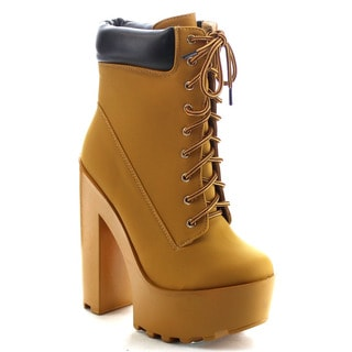 Chase & Chloe Empire-4 Women's Lace Up High Platform Chunky Heel Ankle Booties
