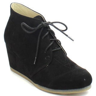 Chase & Chloe Spencer-1 Women's Lace Up Chukka Wedge Ankle Booties