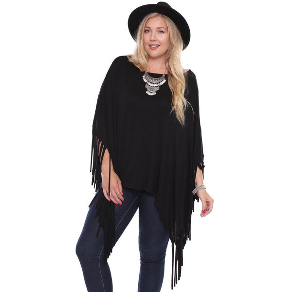 Juniors' Plus-size Boho Black Fringe Poncho