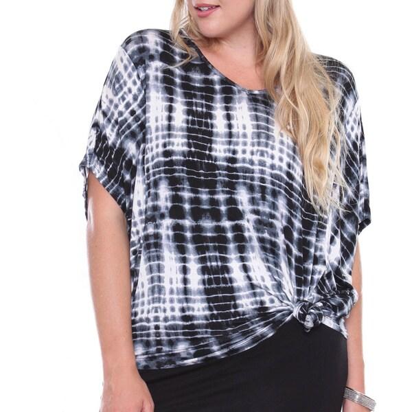 Juniors' Tie Dye Dolman Sleeve Grey Plus-size Top