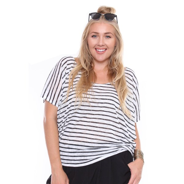 Juniors' Plus-size Casual Chic Stripe Knit Top