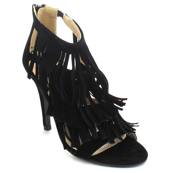 Chase and Chloe Edward-17 Women's Cage Style Fringe Stiletto Heel Dress Sandals
