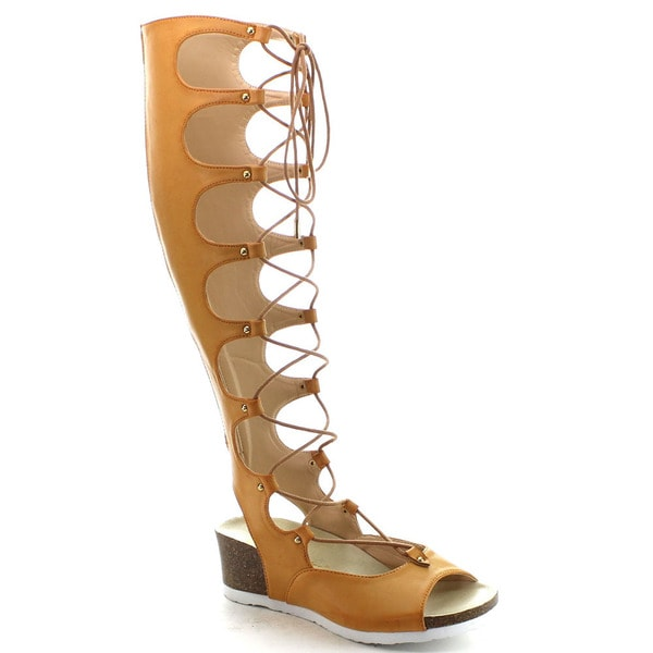 Chase and Chloe Piper-3a Women's Open Toe Lace Up Knee High Wedge Sandals