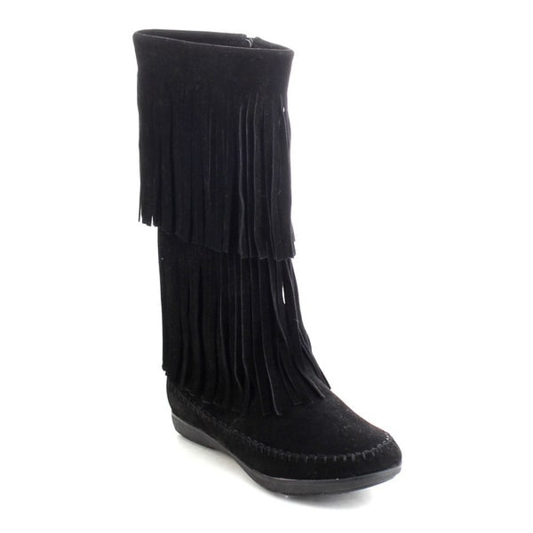 Refresh Jolin-07 Women's Fringe Moccasin Flat Heel Zipper Under Knee High Boots