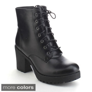 Refresh Club-02 Women's Lace Up Side Zip Platform Chunky Combat Ankle Booties