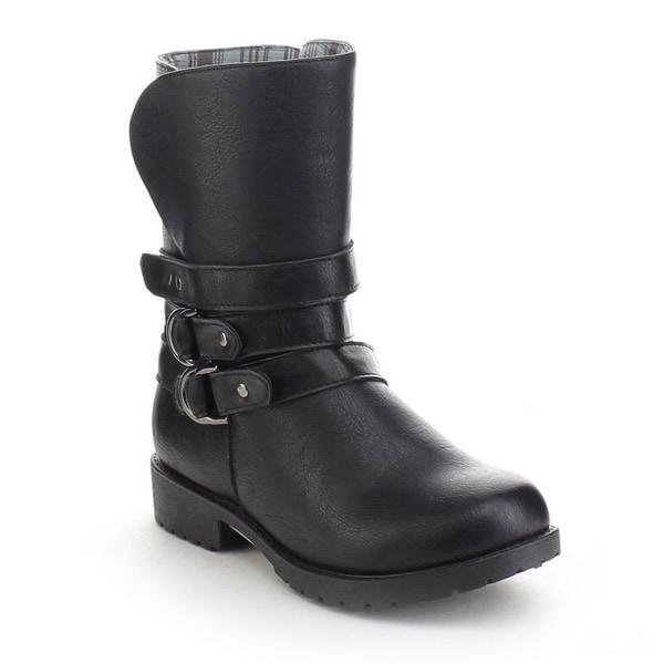Refresh Kody-04 Women's Buckle Side Zipper Flat Heel Motorcycle Mid Calf Boots