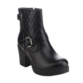 Refresh Club-03 Women's Quilted Buckle Strap Platform Chunky Ankle Booties