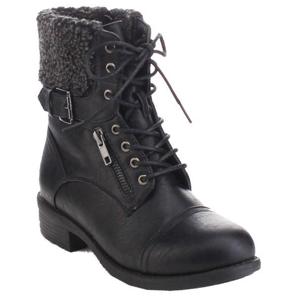 Refresh Dason-10 Women's Lace Up Buckle Strap Chunky Stacked Walking Ankle Boots