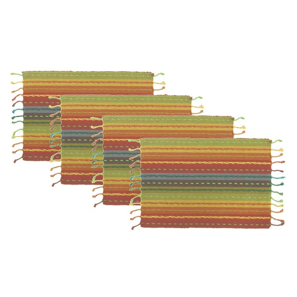 Celebration Multi Stripe Fringed 4-piece Placemat Set