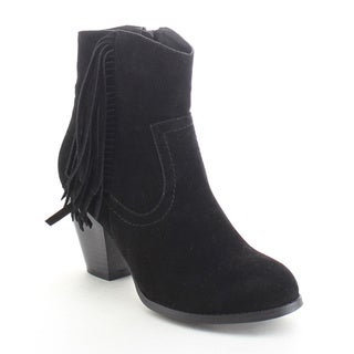 Refresh Dion-02 Women's Boho Fringe Side Zip Chunky Stacked Heel Ankle Booties
