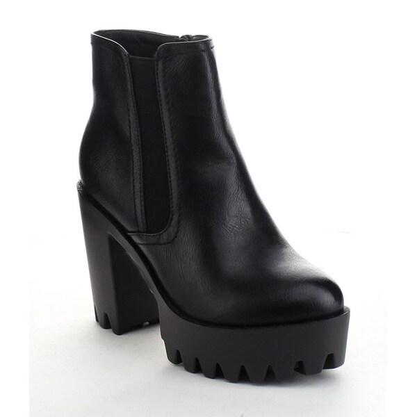 Refresh Fabia-01 Women's Elastic Side Zip Lug Sole Platform Chunky Ankle Boots