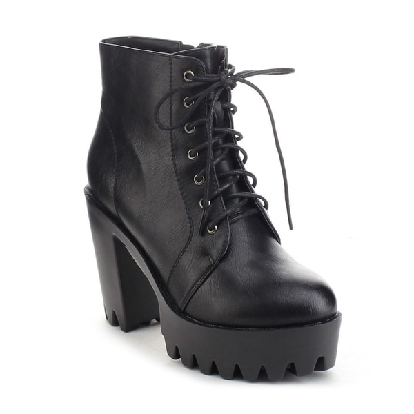 Refresh Fabia-02 Women's Lace Up Side Zip Lug Sole Platform Chunky Ankle Boots