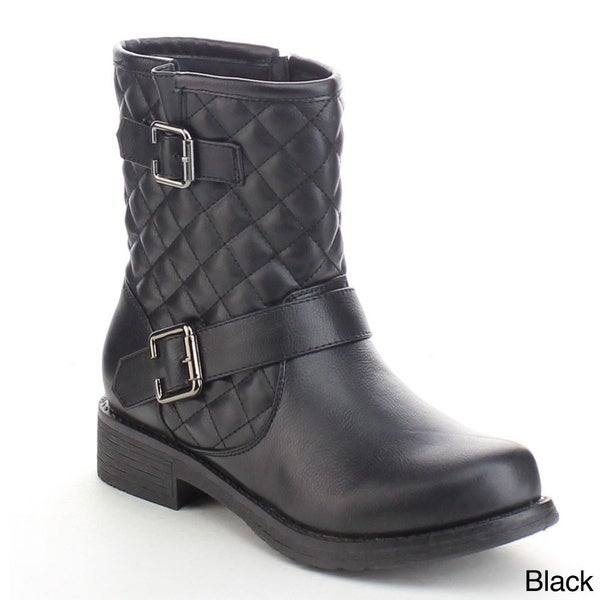 Refresh Jab-01 Women's Quilted Buckle Strap Side Zip Low Flat Chunky Ankle Boots