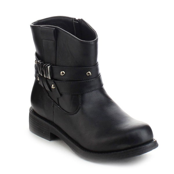 Refresh Jab-02 Women's Stud Buckle Ankle Strap Side Zip Chunky Casual Booties