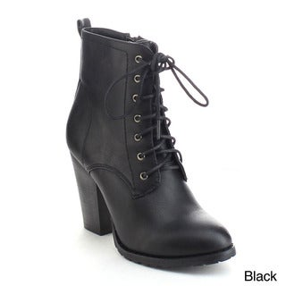 Refresh Laura-01 Women's Lace Up Side Zip Chunky Heel Combat Ankle Booties