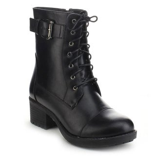 Refresh Master-01 Women's Lace Up Flat Heel Combat Military Ankle Booties