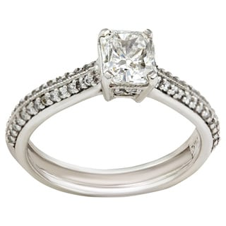 Platinum 1 1/3ct TDW Micropave Solitaire Diamond Engagement Ring (G-H, SI2-SI3) (Size 7)