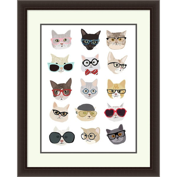 Hanna Melin 'Cats with Glasses' Framed Art Print 30 x 36-inch