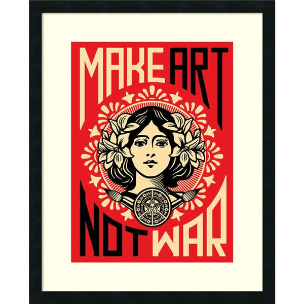 Shepard Fairey 'Make Art Not War' Framed Art Print 24 x 30-inch