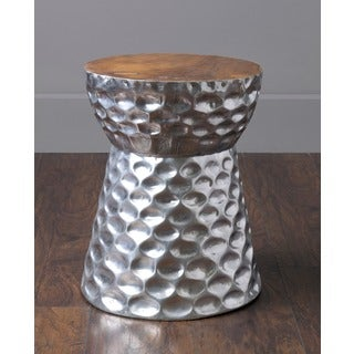 Stanwood Modern Silver Wooden Drum Stool
