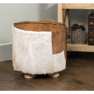 Dufur Modern Tan/White Hide Stool