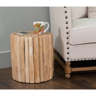 Malin Transitional Tan Wooden Drum Stool