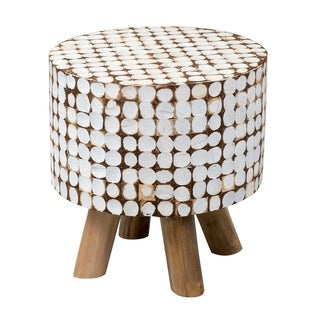 Burnaby Transitional White Cocomosaic Stool