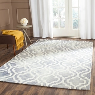 Safavieh Handmade Dip Dye Grey/ Ivory Wool Rug (6' x 9')