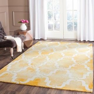 Safavieh Handmade Dip Dye Gold/ Ivory Wool Rug (6' x 9')