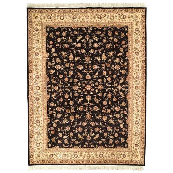 Safavieh Hand-knotted Tabriz Floral Navy/ Beige Wool/ Silk Rug (4' x 6')