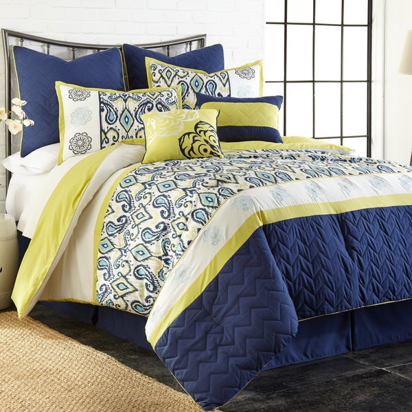 Lyla Embroidered 8-Piece Comforter Set