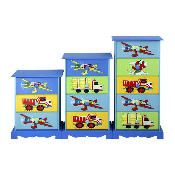 Adorable Kid's Plane and Truck Dresser Drawer (3, 4 or 5 drawers)