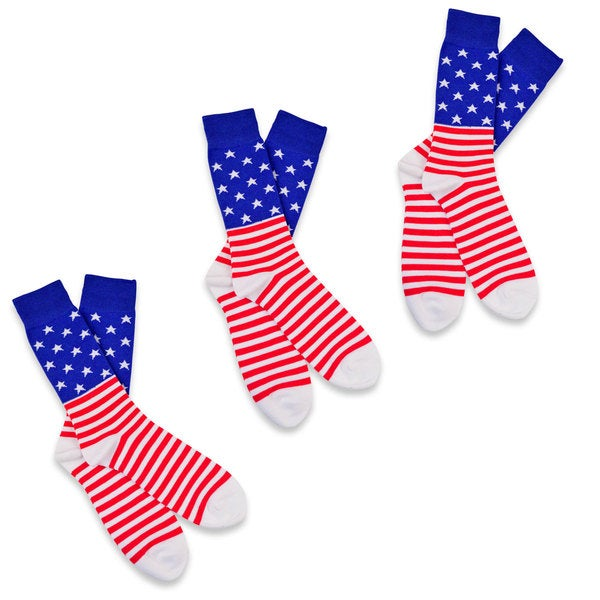 Novelty Fashion Socks American Flag Men's 3 Pairs Cotton Crew Socks, Size 10-13