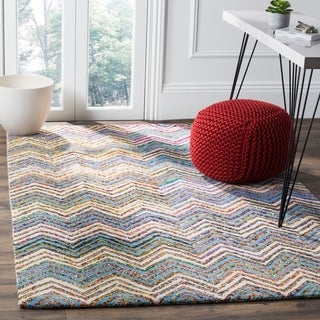 Safavieh Handmade Nantucket Beige/ Blue Cotton Rug (4' x 6')