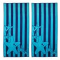 Superior Oversize Jacquard Cotton Beach Towels - Starfish-Blue (Set of 2)