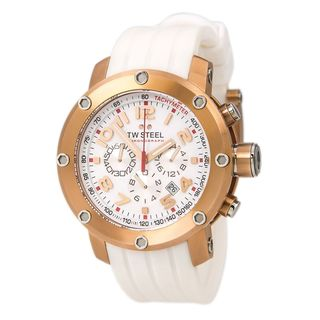 Tw Steel Men's TW132 'Tech' Chronograph White Rubber Watch