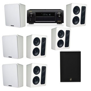 M&K Sound MP300 White Monitor Speaker 7.1 X12 Denon AVR-X5200W